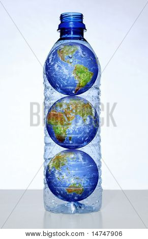 Earth with continents inside empty water bottle
