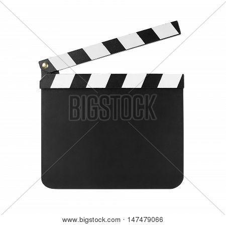 Blank clapboard isolated on white background with copy space
