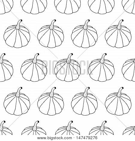 Cute cartoon doodle hand drawn halloween seamless pattern. Monochrome autumn background with pumpkins in kid drawing style. Lovely black and white endless vector illustration. Trendy line art print.