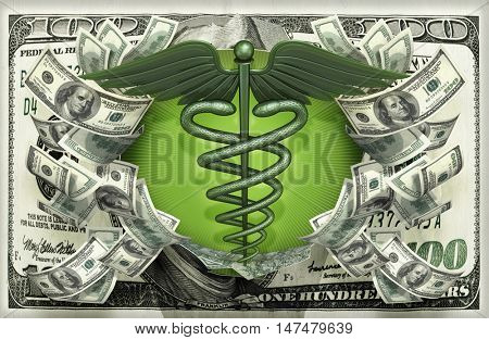 Caduceus Symbol With Money 3D Illustration