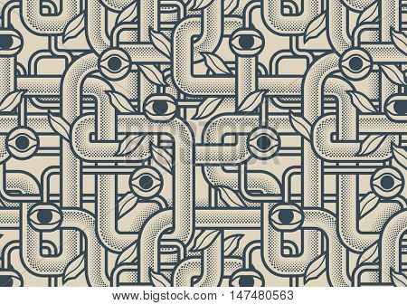 Behind reality. Mechanical tree branches with eyes. Background