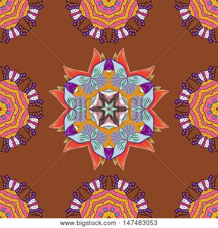Seamless pattern with colorful mandala on brown background. Vector.