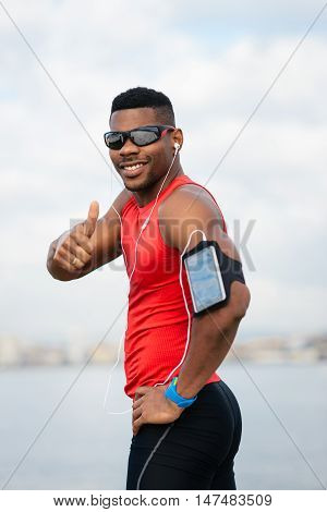 Positive Athlete Celebrating Running And Workout Success