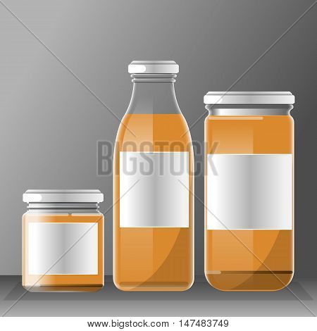 Vector set of transparent glass or plastic orange liquid bottle with caps for juice mockup ready for your design