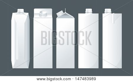 Vector set of white carton beverage pack for milk, juice and water mockup ready for your design