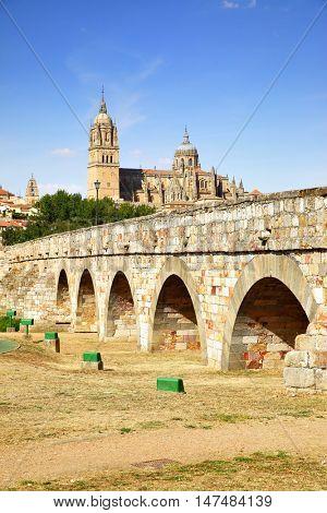 Roman bridge and Salamanca Cathedrals, Spain. Retro style filtered image