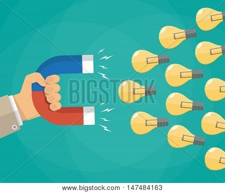 Hand of businessman with magnet attracting light bulbs idea. vector illustration in flat style on green background