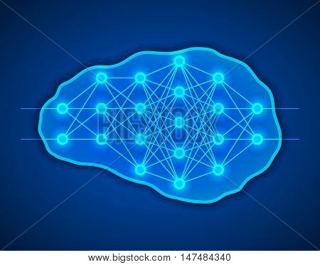 Thinking creativity concept. Brains with neural net inside it. Neurons network. Vector illustration.