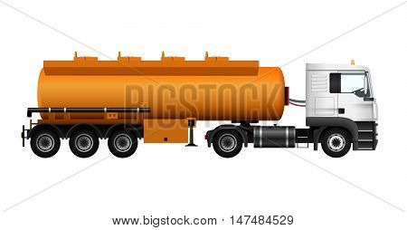 Fuel gas tanker truck template. Vector isolated cargo car. Trailer on white background