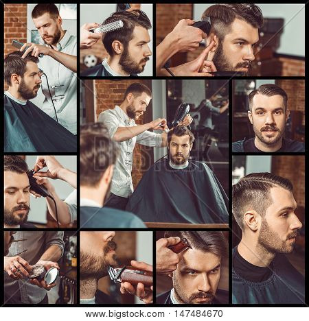 Barber at work. Collage of handsome bearded man getting haircut and beard grooming at barbershop