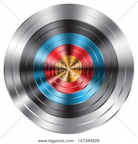 Metal archery target on white background vector illustration.