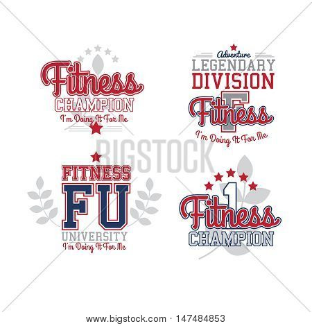 Sport Vector Retro Style Badges Collection. Fitness Theme. Isolated On White