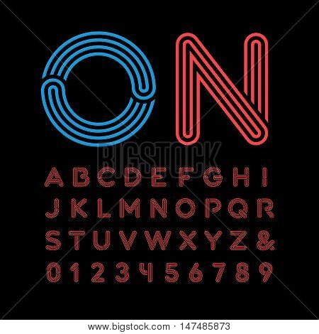 Neon Font. Vector Alphabet With Neon Effect Letters And Numbers.