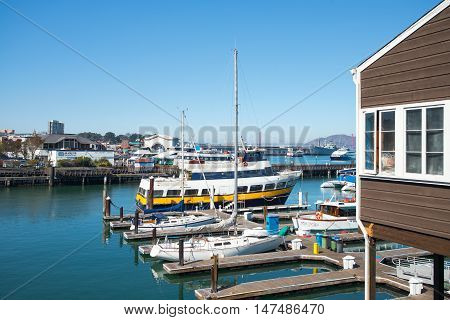 San Francisco USA - September 21 2015: Overlooking on a marina from the Pier 39