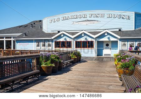 San Francisco USA - September 21 2015: A traditional fish restaurantsin the Pier 39.
