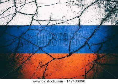 Vintage Russian flag with cracks - Political/Economic concept