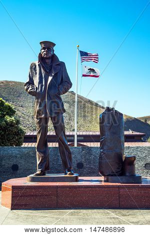 San Francisco USA - September 22 2015: The Lone Sailor statue in the belvedere nord of the Golden Gate bridge