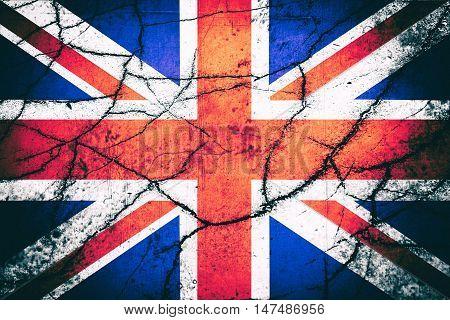 Vintage UK flag with cracks - Political/Economic concept