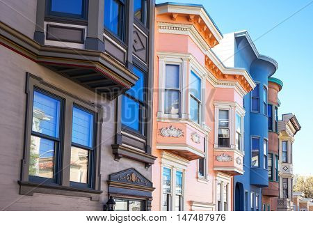 San Francisco USA - September 23 2015: The traditional colored houses of Filbert street Telegraph Hill area