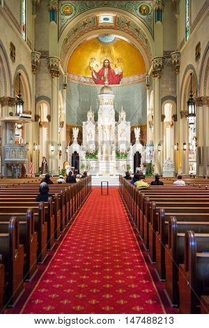 San Francisco USA - September 23 2015: People in the nave of the St Peter and Paul Catholic church