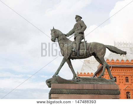 September 10 2016: Equestrian monument to Marshal Zhukov in the city center on Manezhnaya Square September 10 2016 Moscow Russia