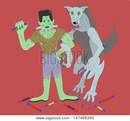 Two monsters of the zombie and the werewolf hold candies