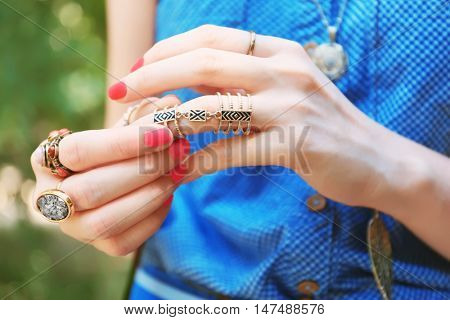Close up of female hands with beautiful bijouteries