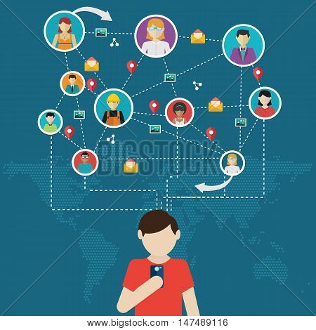 Social network people connecting all over the world.