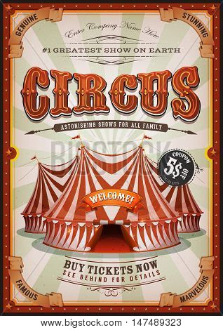 Illustration of retro and vintage vertical circus poster background with marquee big top elegant titles and grunge texture for arts festival events and entertainment background