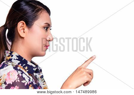 Asian woman pretending to press or touch something