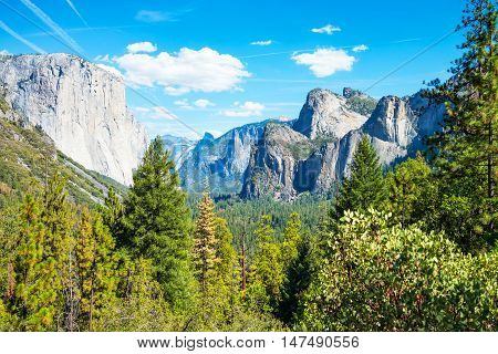 Yosemite National Park California panoramic view of the valley with the El Capitan and the Cathedral Spires mountains