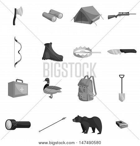 Hunting icons set in black monochrome style. Hunters elements set collection vector illustration