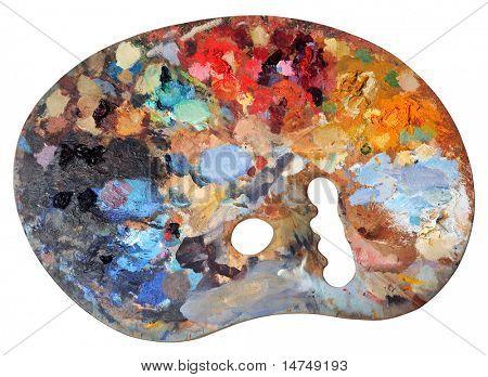 Ergonomische Künstler-Palette, die über einen weißen Hintergrund isoliert