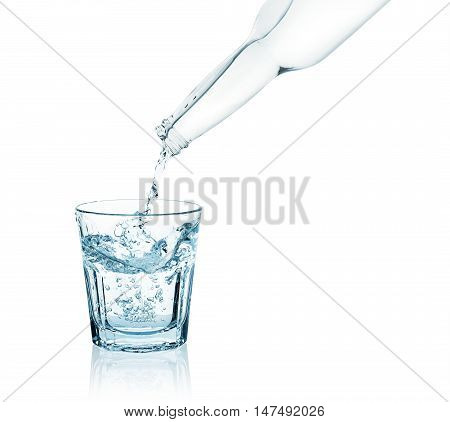 bottle pouring water into a glass isolated on white