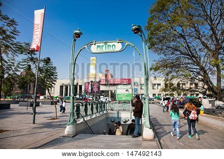 MEXICO CITY, MEXICO - DEC 6, 2015: People enter subway station in Zocalo , Mexico city on Dec 6, 2015. Mexico.