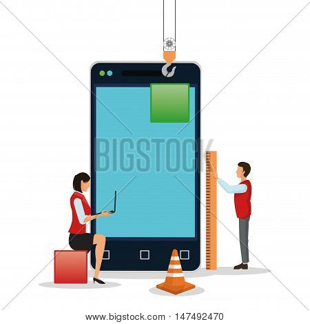 Avatar people with blocks and smartphone icon. Industry app and construction theme. Colorful design. Vector illustration