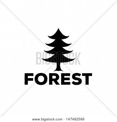 Logo Or Emblem Of A Black Fir-tree, Vector Illustration