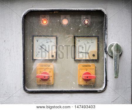 Rusty Control panel Volt meter Amp meter