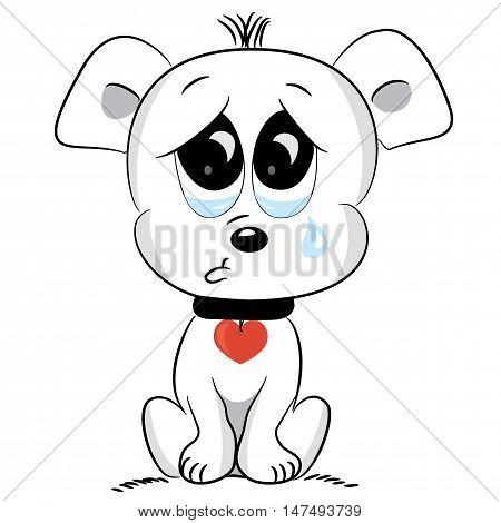 Cute cartoon sad dog on white. Vector illustration
