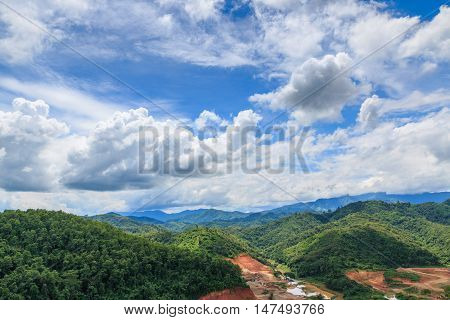 Mountain forests cloud cover during the rainy season.