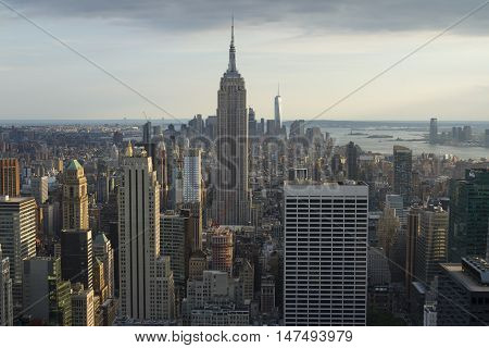 New York City. Manhattan Downtown Skyline With Empire State Building And Skyscrapers At Sunset.