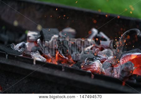 charcoal preparing for making bbq in mangal, shallow focus