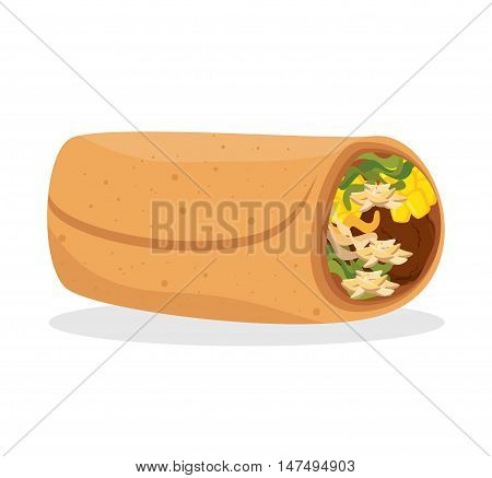cartoon burrito food mexico design isolated vector illustration eps 10
