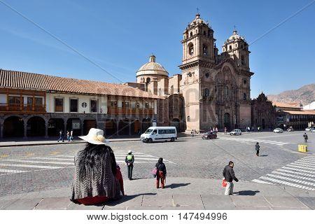 CUSCO PERU - September 01 2016: View of Cusco Cathedral in Cusco Peru on September 01 2016. In 1983 Cusco was declared a World Heritage Site by UNESCO.
