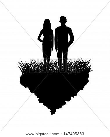 Grass and couple of people silhouette icon. lawn plant nature and field theme. Vector illustration