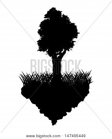 Grass and tree silhouette icon. lawn plant nature and field theme. Vector illustration