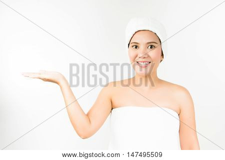 woman present upper hand on white background