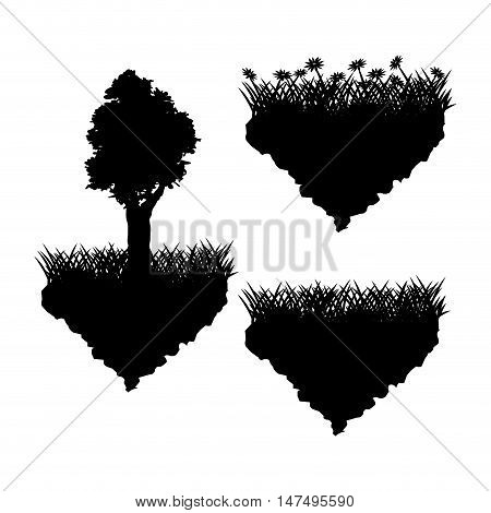 Grass tree and flowers silhouette icon. lawn plant nature and field theme. Vector illustration