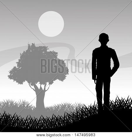 Grass moon and tree with man silhouette icon. lawn plant nature and field theme. Vector illustration