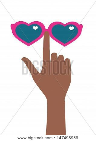 Vector illustration depicts glasses hearts and tanned arm